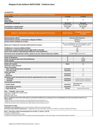 Allegato B alla Delibera 96/07/CONS - Telefonia fissa