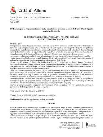 ALBINO, 01/10/2014 Prot. 21761 Ord. n. 173