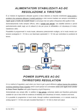 alimentatori stabilizzati ac-dc regolazione a tiristori power