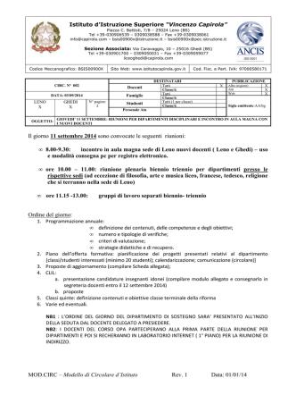 """circ002-2014-2015 - Istituto di Istruzione Superiore """"V.Capirola"""""""