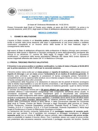 Avviso Professione Medico Chirurgo - Università degli Studi di Trieste
