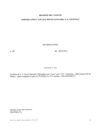 DELIBERAZIONE n. 187 del 06/03/2014