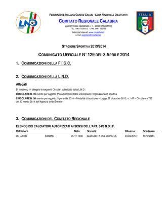 Comunicato Ufficiale N. 129 del 3 Aprile 2014