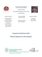 """Programma Preliminare 2014 """"Mosaici diagnostici in"""