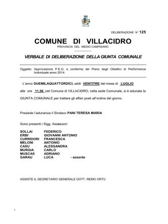 Deliberazione Giunta Comunale n.125 del 23.07.2014