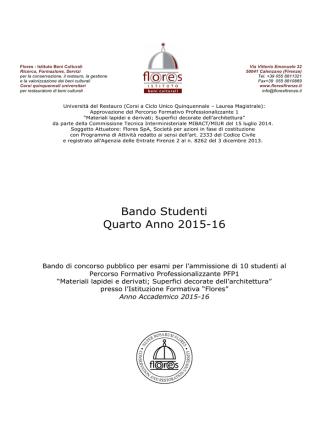 Bando Studenti Quarto Anno 2015-16 - Istituto Beni Culturali