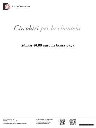 bonus 80 euro - Studio dott. Raffaele Penna