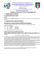 Comunicato Ufficiale n. 38 del 13 Novembre 2014