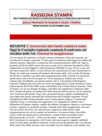 22 Ottobre 2014 - OMCeO Sassari