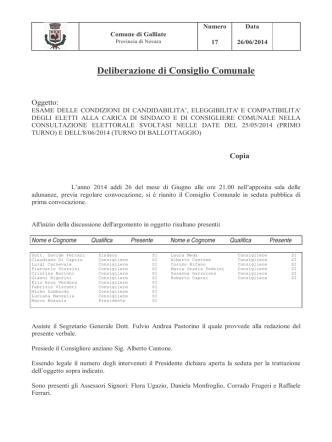 Delibera condizione eleggibilità eletti 2014
