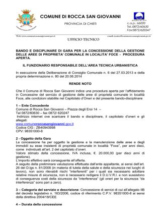 Bando di gara - Comune di Rocca San Giovanni