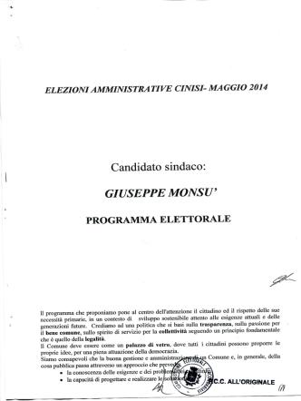 Candidato sindaco: GIUSEPPE MONSU