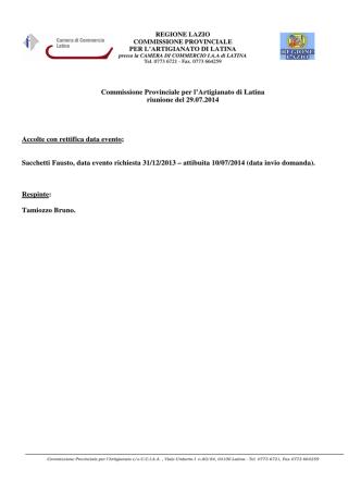 29 Luglio 2014 - Camera di Commercio di Latina