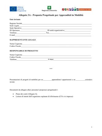 Allegato 3A - Proposte Progettuali per Mobilità di Apprendisti