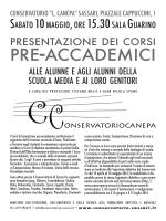 """pre-accademici - Conservatorio di Musica """"Luigi Canepa"""" di Sassari"""