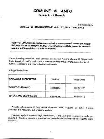 DELIBERAZIONE GIUNTA COMUNALE N. 39