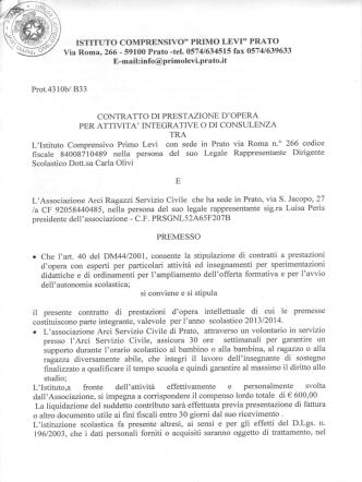 Contratto Arci Ragazzi Servizio Civile