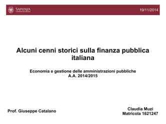 Cenni storici sulla finanza locale in Italia (a cura di Muzi)