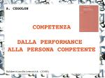 COMPETENZA DALLA PERFORMANCE ALLA PERSONA