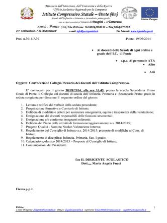 convocazione collegio plenario 30 settembre 2014