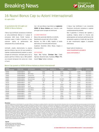 Caratteristiche Bonus Cap azioni internazionali