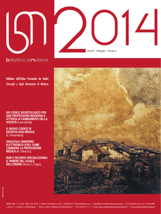Aprile - Giugno 2014 (pdf - 702 KB) - Ordine Provinciale dei Medici