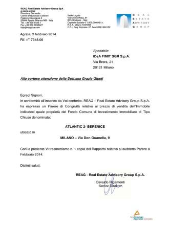 Agrate, 3 febbraio 2014 Rif. no 7348.06 Spettabile IDeA FIMIT SGR