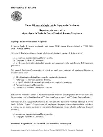 Corso di Laurea Magistrale in Ingegneria Gestionale Regolamento