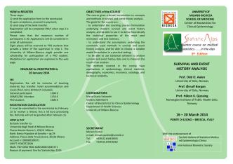 Brochure Statisticalps 2014 - Statistica Medica ed Epidemiologia