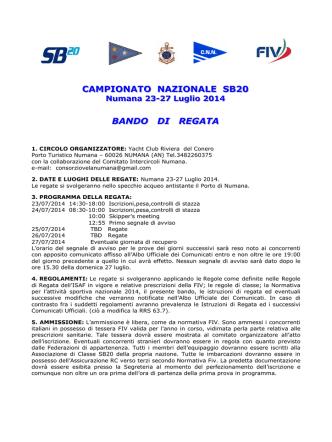 BANDO DI REGATA sb20 - Circolo Nautico Numana