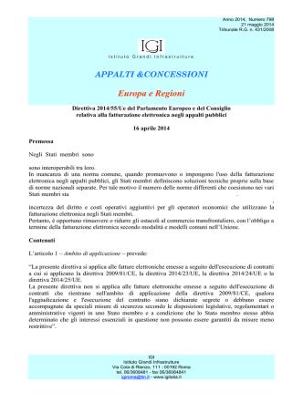 1) Direttiva 2014/55/Ue del Parlamento Europeo e del Consiglio