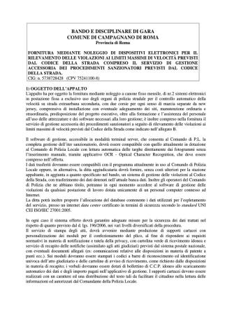 Bando e disciplinare gara - Comune di Campagnano di Roma