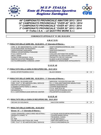 Comunicato Ufficiale n° 19 del 05.02.2014