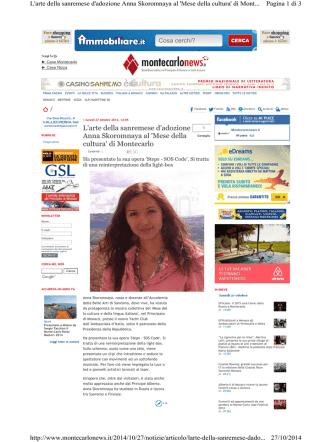27.10.2014 MONTECARLONEWS Anna Skoromnaia al Mese della