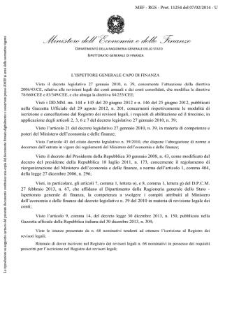 Decreto di iscrizione nel Registro dei revisori