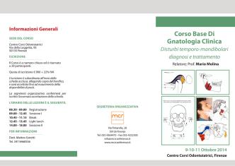 Corso Base Di Gnatologia Clinica Disturbi temporo