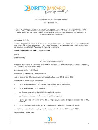 Corte di Giustizia UE, Sez. II, 17 settembre 2014, C