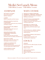 Italian Set lunch menu