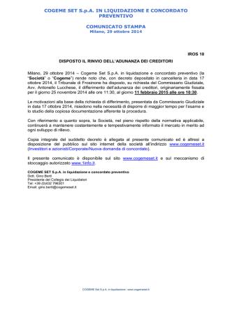 COGEME SET S.p.A. IN LIQUIDAZIONE E CONCORDATO