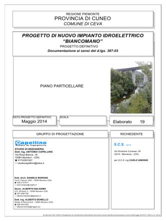 """comune di ceva progetto di nuovo impianto idroelettrico """"biancomano"""""""