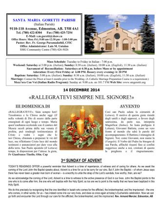 14 December, 2014 - Santa Maria Goretti Parish
