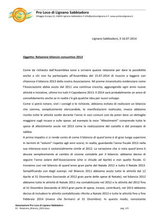 bilancio 2013 - Pro loco di Lignano Sabbiadoro