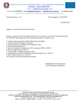 Circ. n. 11: Convocazione collegio docenti - Fiani