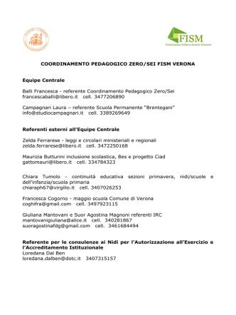 COORDINAMENTO PEDAGOGICO ZERO/SEI FISM VERONA
