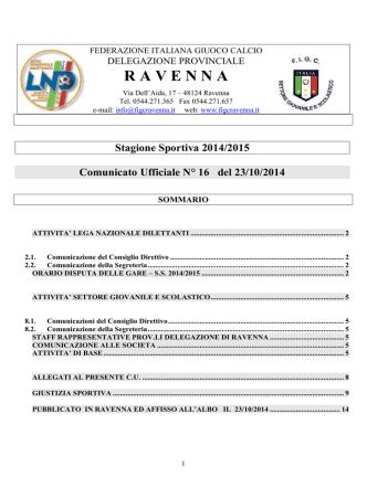 C.U. N. 16... - FIGC Ravenna