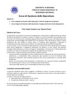 Corso di Gestione delle Operations - Università degli studi di Bergamo
