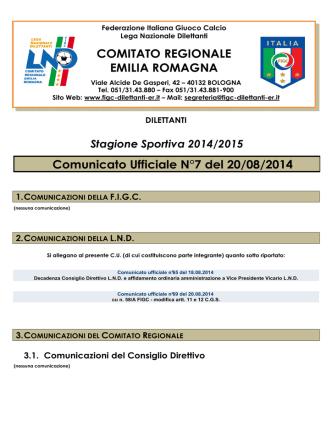 Comunicato Ufficiale N°7 del 20/08/2014