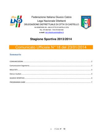 Comunicato Ufficiale N° 18 del 23/01/2014