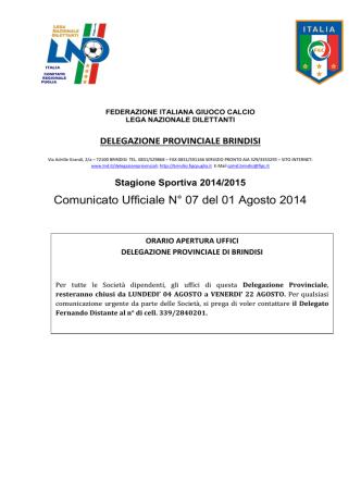 Comunicato Ufficiale n° 07 del 01.08.2014
