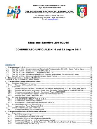 Comunicato n. 4 - Calcio Rubano USDC